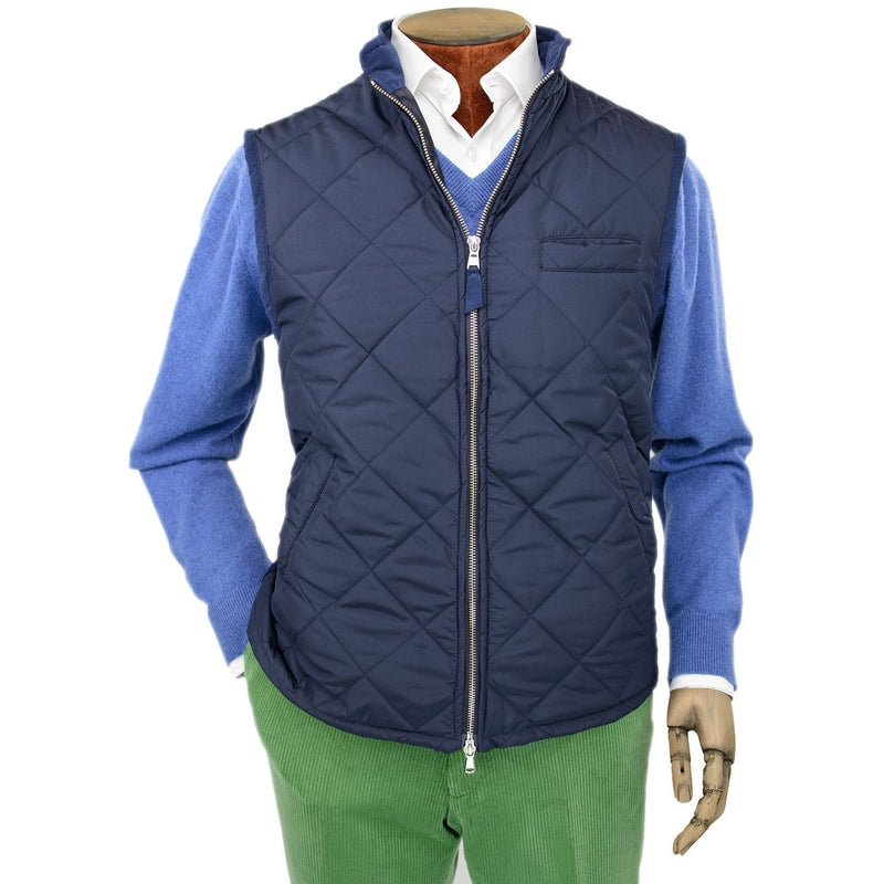 Navy Quilted Gilet with Knitted Back - croftonandhall