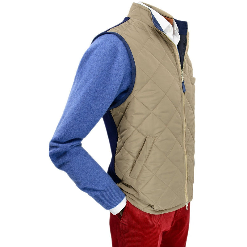 Fawn Quilted Gilet with Knitted Back - croftonandhall