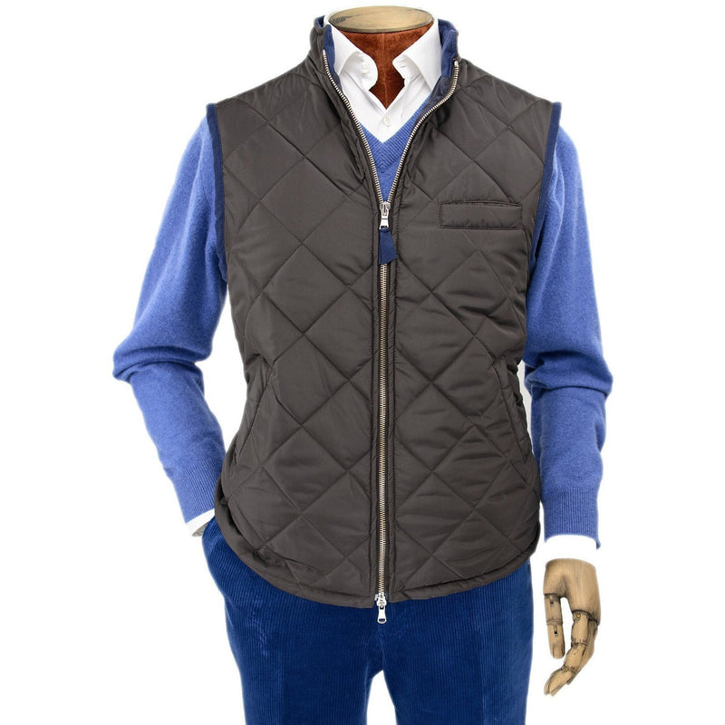 Dark Brown Quilted Gilet with Knitted Back - Crofton & Hall