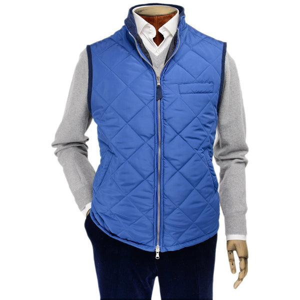 Mid Blue Quilted Gilet with Knitted Back - croftonandhall