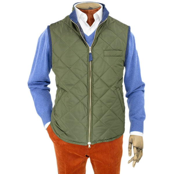 Green Quilted Gilet with Knitted Back - croftonandhall