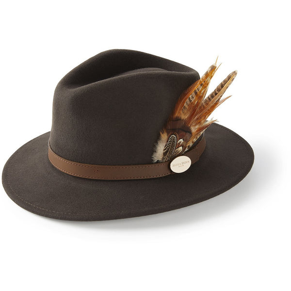 The Suffolk Fedora in Dark Brown with Gamebird Feather - croftonandhall