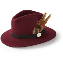 The Suffolk Fedora in Maroon with Gamebird Feather - croftonandhall