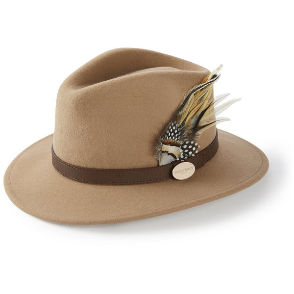 The Suffolk Fedora in Camel with Guinea and Pheasant Feather - croftonandhall