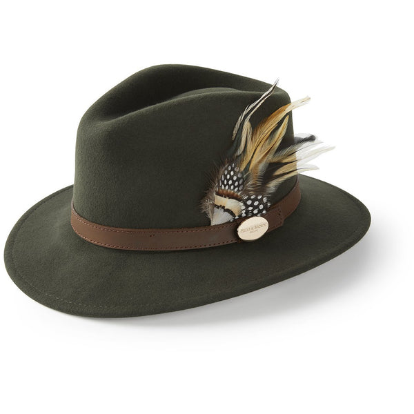 The Suffolk Fedora in Olive Green with Guinea and Pheasant Feather - croftonandhall