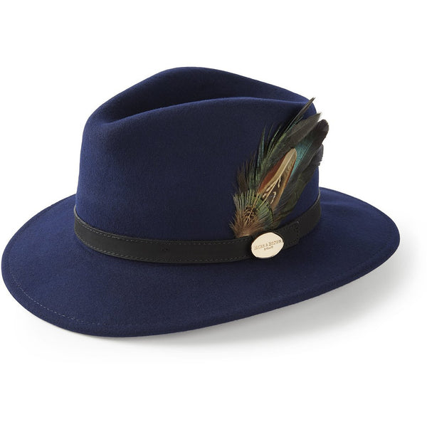 The Suffolk Fedora in Navy with Classic Feather - croftonandhall