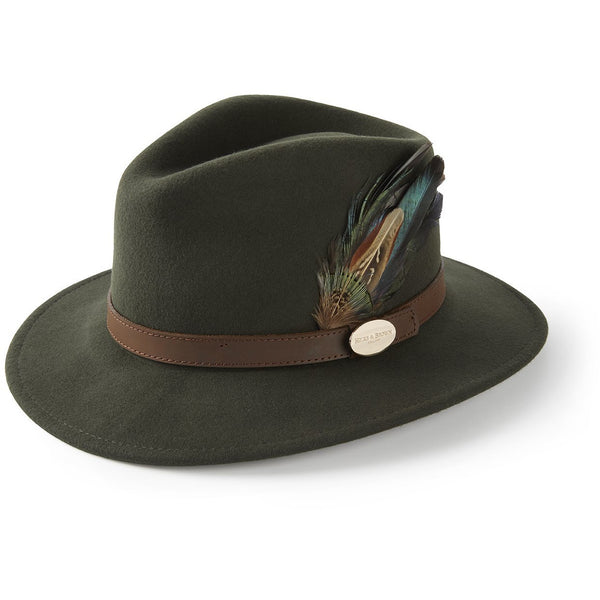 The Suffolk Fedora in Olive Green with Classic Feather - croftonandhall