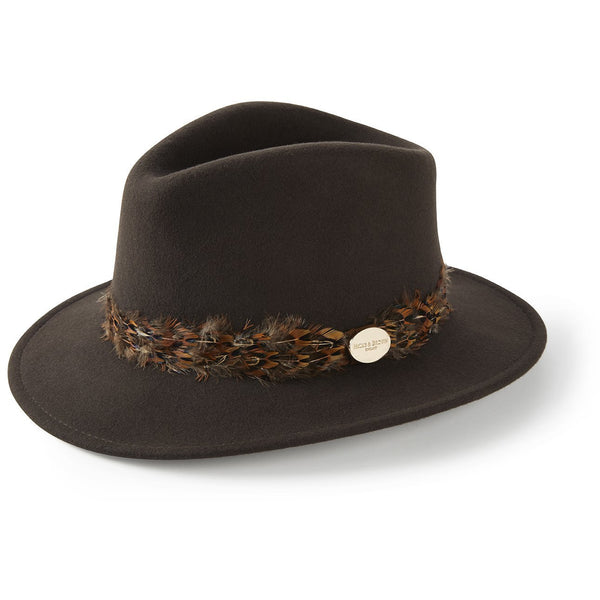 The Suffolk Fedora in Dark Brown with Pheasant Feather Wrap - croftonandhall