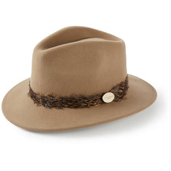 The Suffolk Fedora in Camel with Pheasant Feather Wrap - croftonandhall