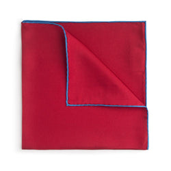 Red With Blue Shoe String Silk Pocket Square - croftonandhall