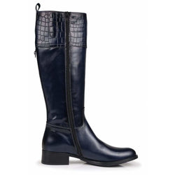Hera Leather Boots in Navy - croftonandhall