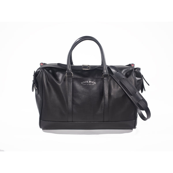 Black Leather Holdall Bag - Elephant Polo Print - croftonandhall