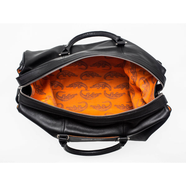 Black Leather Holdall Bag - Crocodile Print - croftonandhall