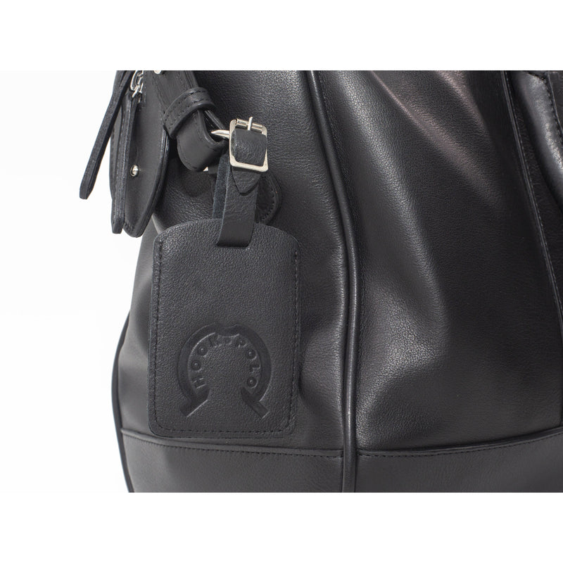 Black Leather Holdall Bag - Crocodile Print - Crofton & Hall