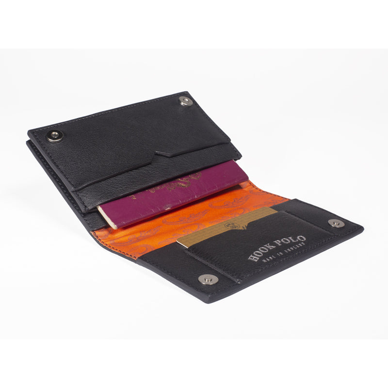 Travel Wallet - Black Leather Crocodiles - croftonandhall