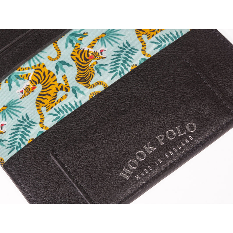 Travel Wallet - Black Leather Tigers - croftonandhall