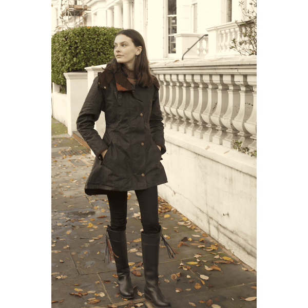 Louise Deluxe Check Waxed Cotton Windproof Coat - croftonandhall