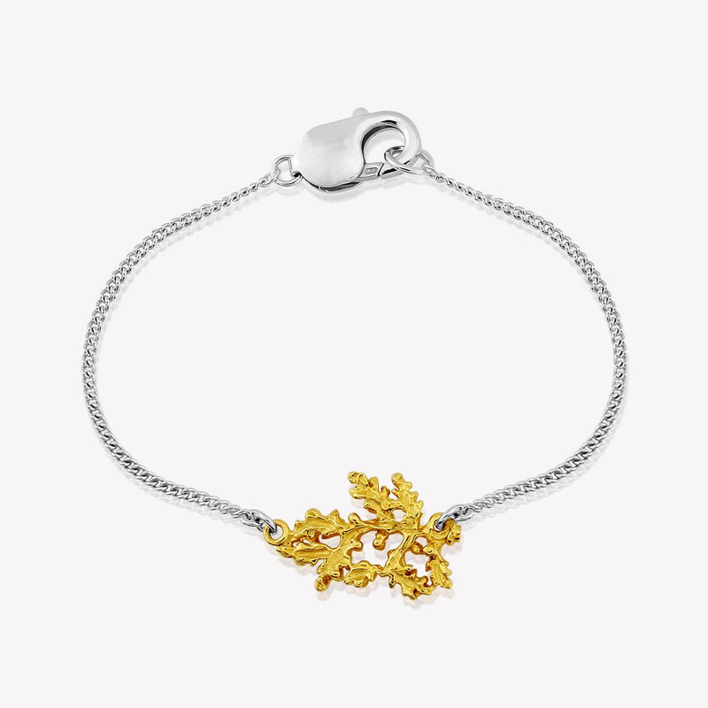 Woodland Oak Bracelet in two tone silver & 22ct gold vermeil -RACHEL ELIZABETH WOOD - croftonandhall