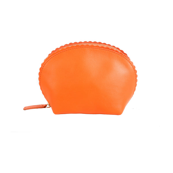 Chelsea Scalloped Edged Cosmetic Case in Tangerine - croftonandhall
