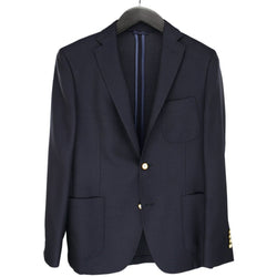 Navy Single Breasted Woollen Mix Jacket - croftonandhall