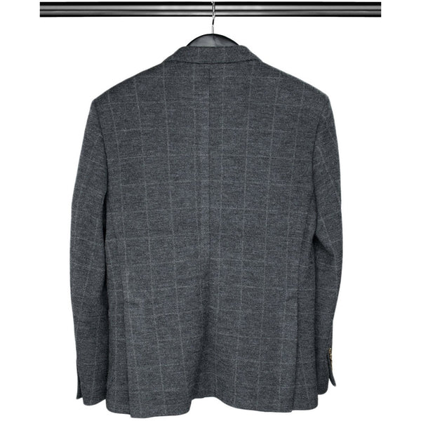 Charcoal Grey Checked Single Breasted Woollen Mix Jacket - croftonandhall