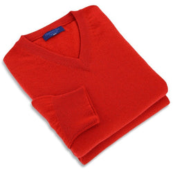 Red 2-Ply Cashmere V-Neck Pullover - Crofton & Hall