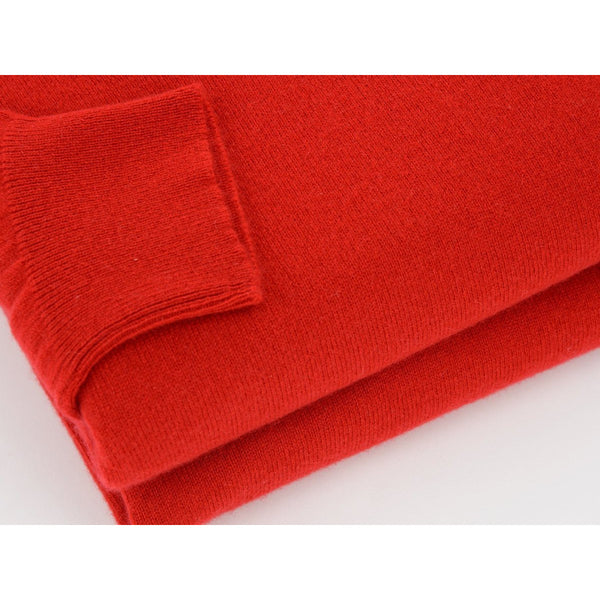 Red 2-Ply Cashmere V-Neck Pullover - croftonandhall