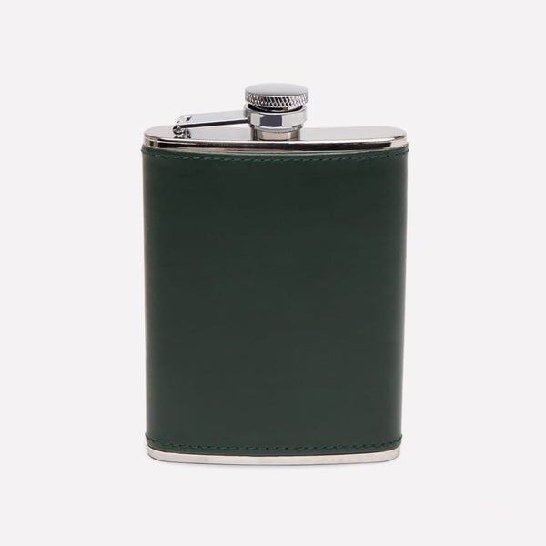 6oz Captive Top Leather Bound Hip Flask in Green - croftonandhall