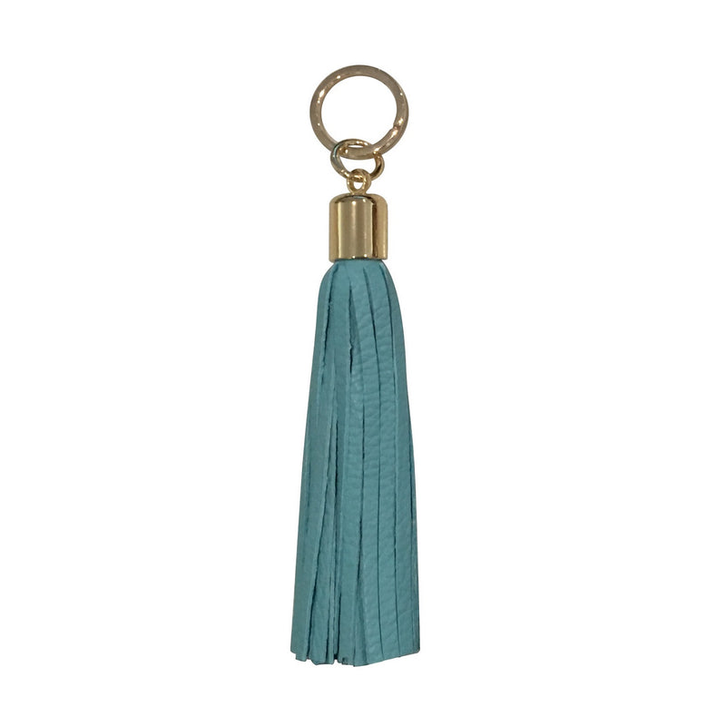 Leather Tassel Keyring in Light Blue - croftonandhall