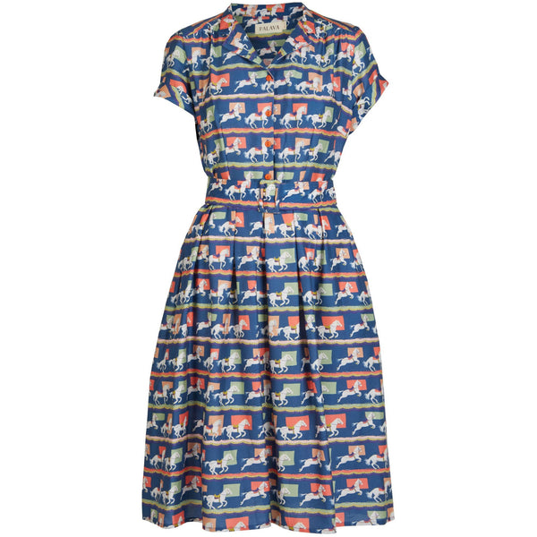 LOUISE - TENCEL BLUE SHOW PONY DRESS - croftonandhall