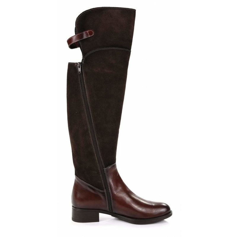 Megara Over the Knee Leather & Suede Boots in Brown - croftonandhall