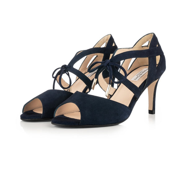 Sally - Extra Wide Fit Heeled Sandal - Navy Suede - croftonandhall
