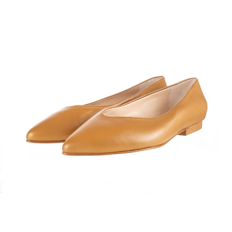 Sorcha Wide Fit Ballet Flats - Tan Leather - croftonandhall