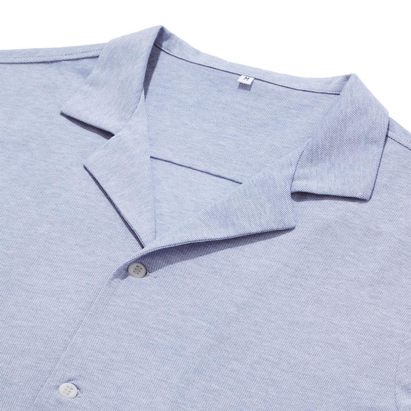 Pique Open Collar Shirt - Cloud Blue - croftonandhall