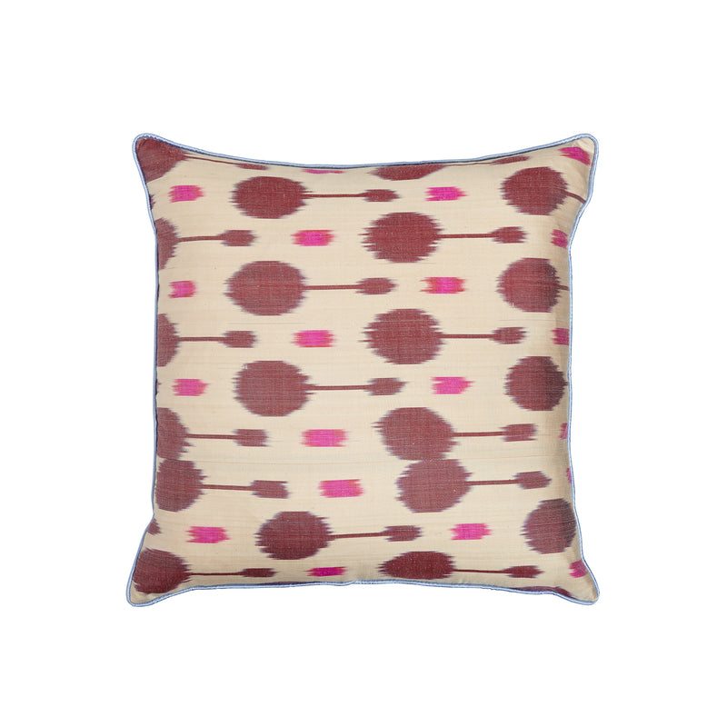 Silk Pink/Burgundy IKAT Square Cushion - croftonandhall