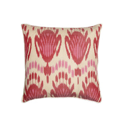 Silk Pink/Red IKAT Square Cushion - croftonandhall