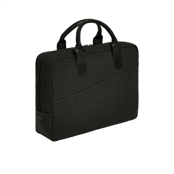 Laptop Briefcase in Cotton Atlantic Black - croftonandhall