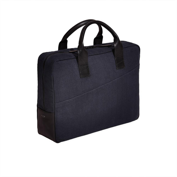 Laptop Briefcase in Cotton Midnight Blue - croftonandhall
