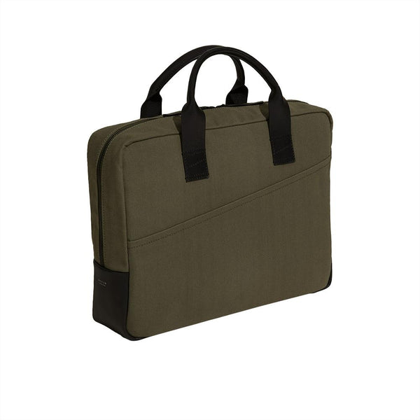 Laptop Briefcase in Cotton Hunter Green - croftonandhall