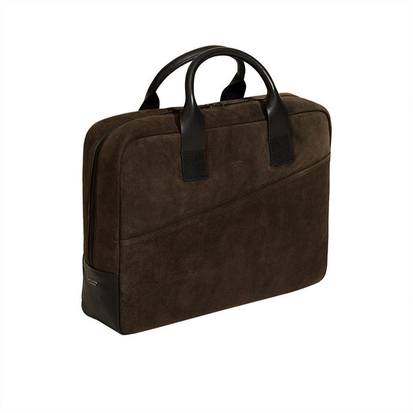 Laptop Briefcase in Chestnut Brown Suede - croftonandhall