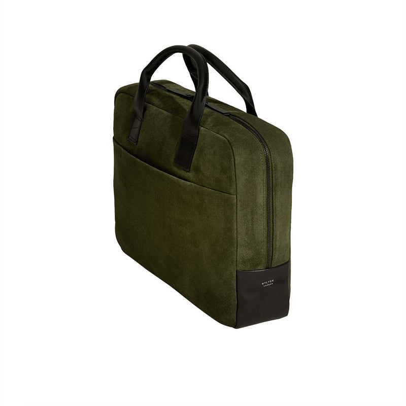 Laptop Briefcase in Olive Green Suede - croftonandhall