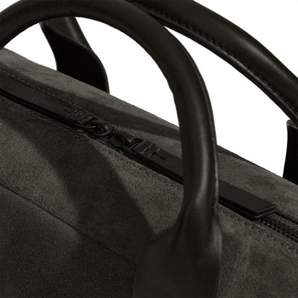 Laptop Briefcase in Smoke Grey Suede - croftonandhall