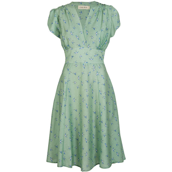 RITA - TENCEL GREEN SWALLOWS DRESS - croftonandhall