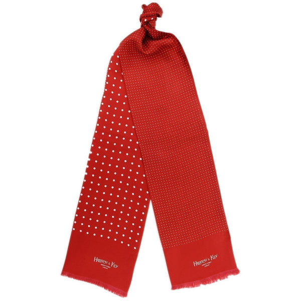 Red with White Spots Silk Tubular Scarf - croftonandhall