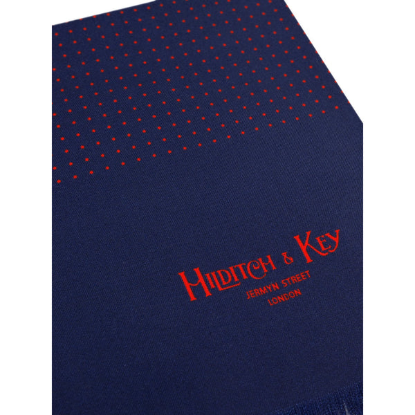 Navy with Red Spots Silk Tubular Scarf - croftonandhall