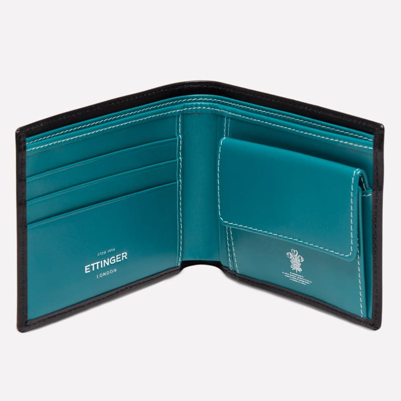 Billfold Wallet with 3 c/c and Purse in Black & Turquoise - croftonandhall