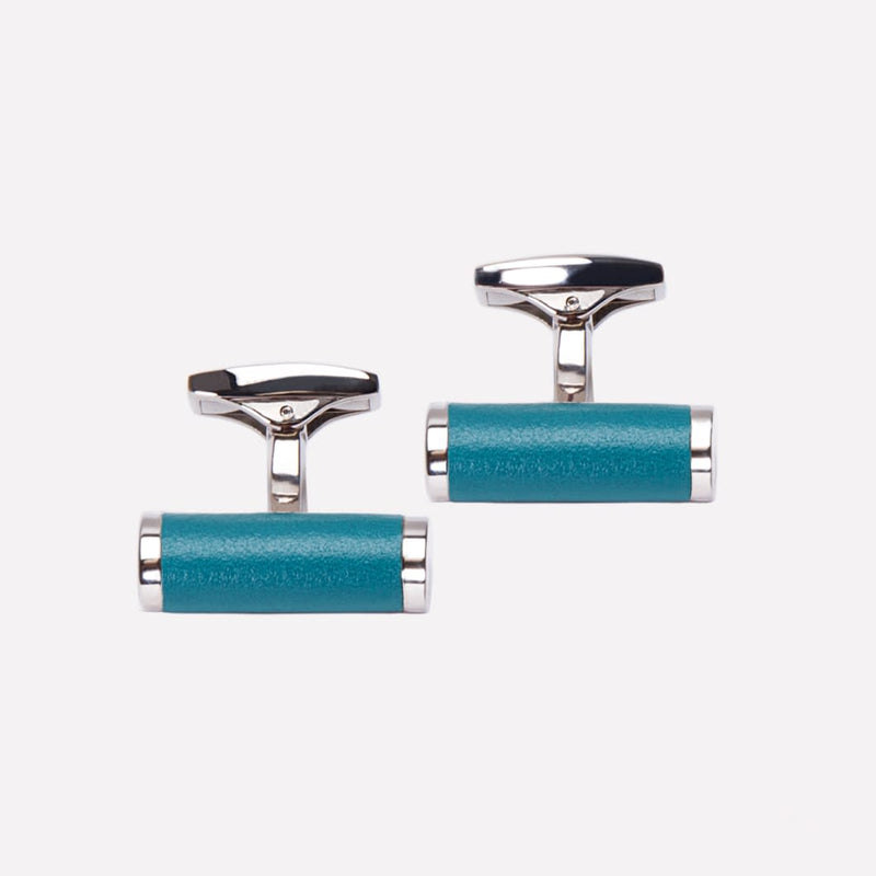 Bar Cufflinks in Turquoise and Silver - croftonandhall