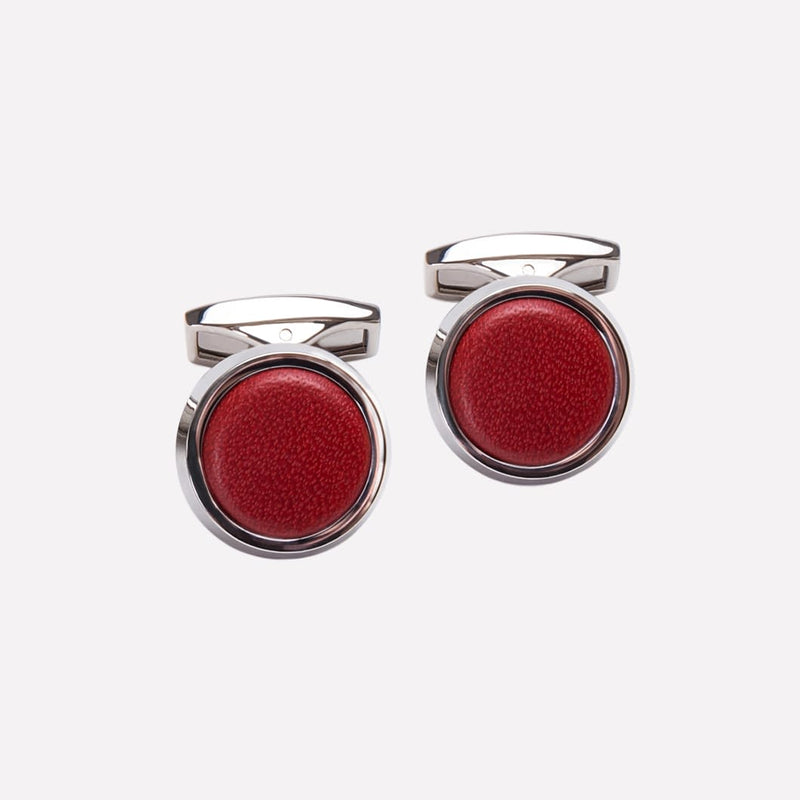 Round Cufflinks in Red and Silver - croftonandhall