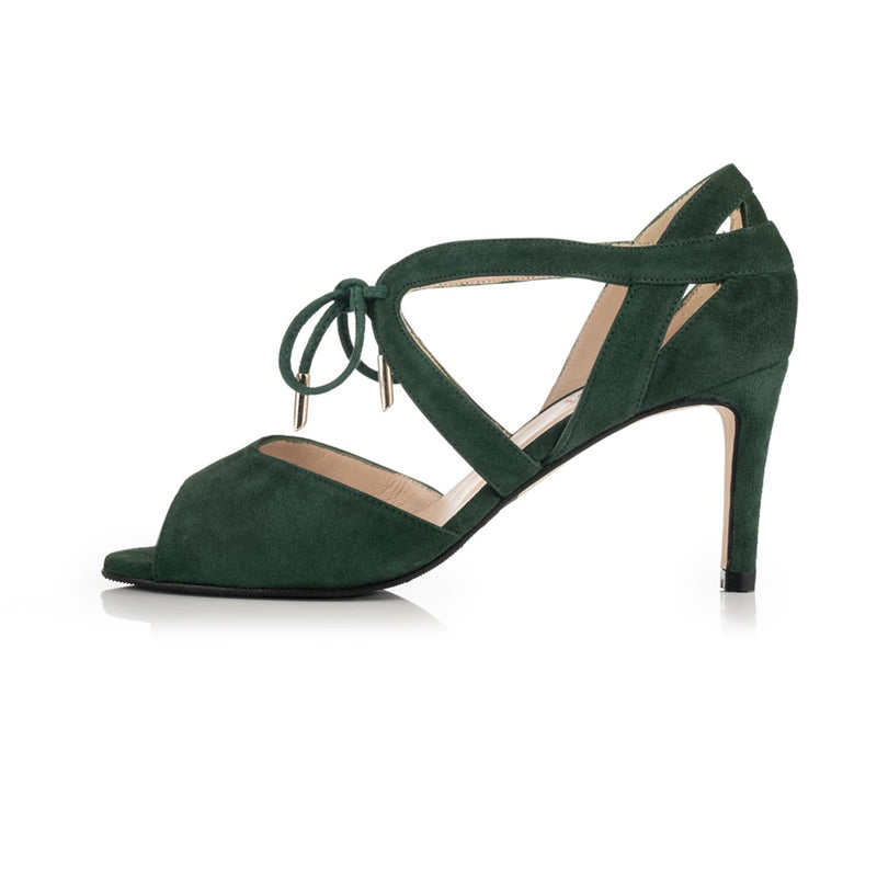 Sally - Extra Wide Fit Heeled Sandal - Dark Green Suede - croftonandhall