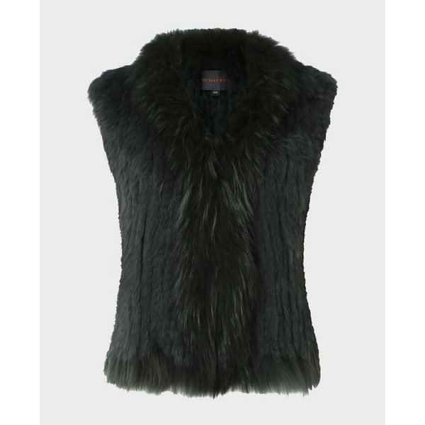 Fur Gilet in Antique Green - Crofton & Hall